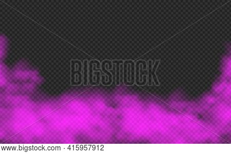 Violet Smoke Isolated On Transparent Background. Steam Special Effect. Realistic Colorful Vector Fir