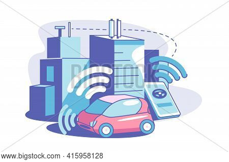 Smart Connected City Vector Illustration. Wireless Communication
