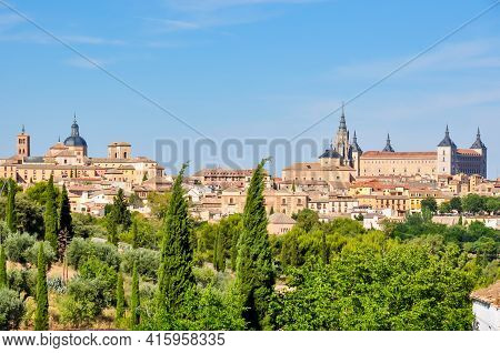 Toledo Cityscape With Cathedral And Alcazar Over Old Town, Spain
