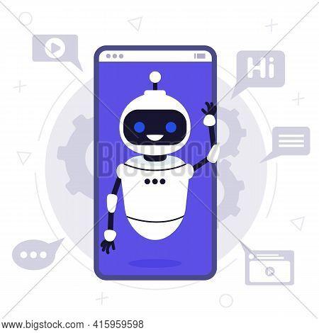 Chat Bot Robot Say Hi Vector Flat Cartoon Character Illustration On Blue Background Speak Bubble Voi