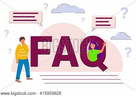 Faq - Frequently Asked Questions Flat Vector Concept Illustration Online Support Center Question Ans