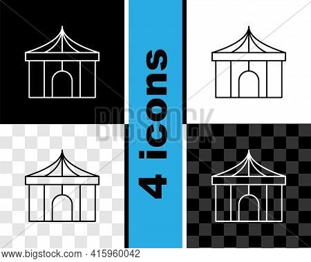 Set Line Circus Tent Icon Isolated On Black And White, Transparent Background. Carnival Camping Tent