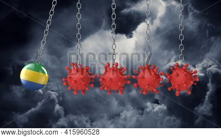 Gabon Flag Ball Hits Into A Line Of Coronavirus Molecules. 3d Rendering