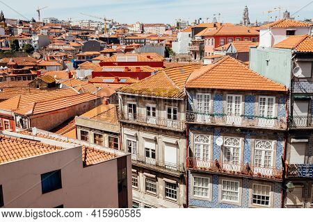Porto, Portugal: Old Houses And Narrow Streets Of The City With Colorful Walls And Rustic Textures O