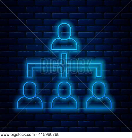 Glowing Neon Line Business Hierarchy Organogram Chart Infographics Icon Isolated On Brick Wall Backg