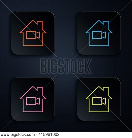 Color Neon Line Video Camera Off In Home Icon Isolated On Black Background. No Video. Set Icons In S