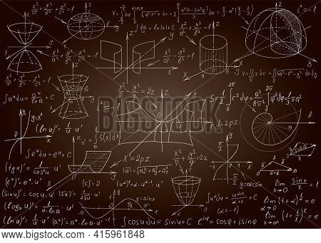 Mathematical Formulas Drawn By Hand On A Brown Chalkboard For The Background. Vector Illustration.