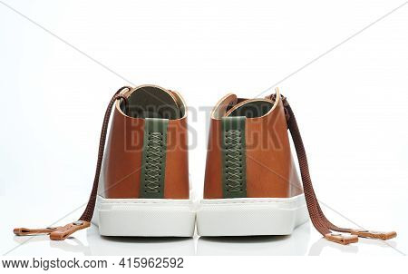 Back Of Brown Leather Shoes