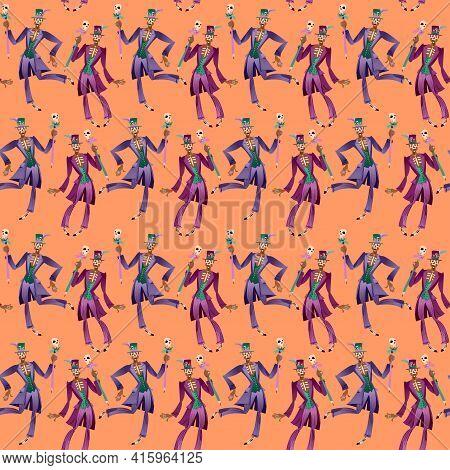 Dancing Man In Skull Makeup Dressed In Baron Samedi (baron Saturday) Costume. Vector Illustration. S