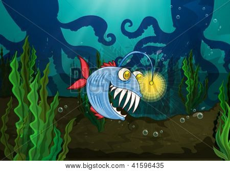 Illustration of a monster fish and octopus in a water