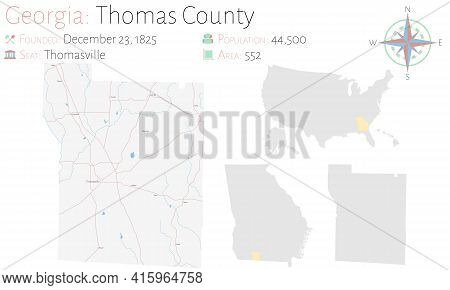 Large And Detailed Map Of Thomas County In Georgia, Usa.