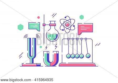 Test Tubes And Chemistry Laboratory Vector Illustration. Flasks With Liquids, Magnets, Scientific Re