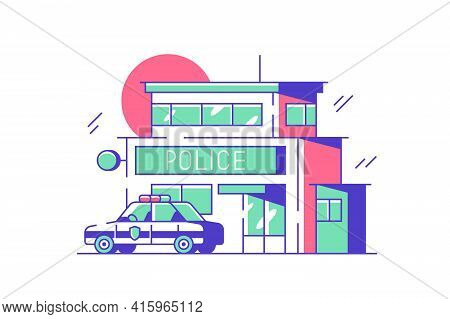 Police Or Security City Department Vector Illustration. Exterior Of Municipal Building Flat Style. P