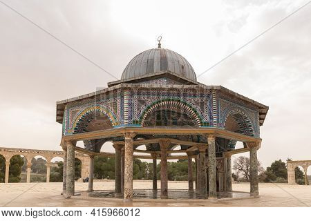 The Dome Of The Chain Near To The Dome Of The Rock Mosque On The Temple Mount In The Old Town Of Jer