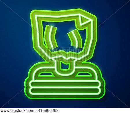 Glowing Neon Line Kidnaping Icon Isolated On Blue Background. Human Trafficking Concept. Abduction S