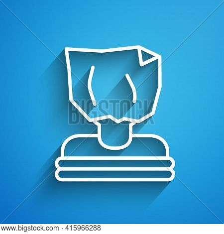 White Line Kidnaping Icon Isolated On Blue Background. Human Trafficking Concept. Abduction Sign. Ar
