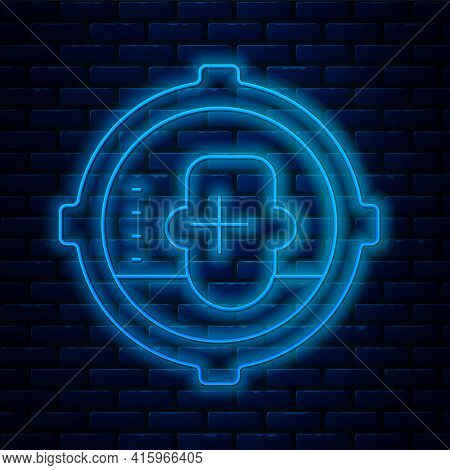 Glowing Neon Line Headshot Icon Isolated On Brick Wall Background. Sniper And Marksman Is Shooting O
