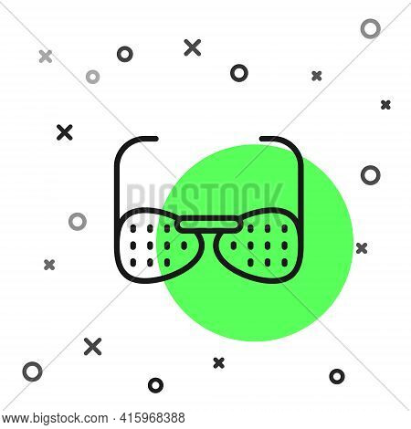 Black Line Glasses For The Blind And Visually Impaired Icon Isolated On White Background. Vector