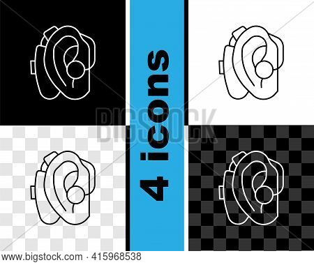 Set Line Hearing Aid Icon Isolated On Black And White, Transparent Background. Hearing And Ear. Vect