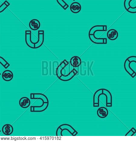 Blue Line Magnet With Money Icon Isolated Seamless Pattern On Green Background. Concept Of Attractin