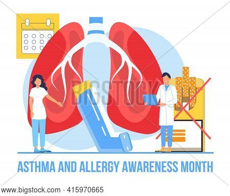 Asthma And Allergy Awareness Month Concept Vector. Medical Event Is Observed In May. Asthmatic Syndr