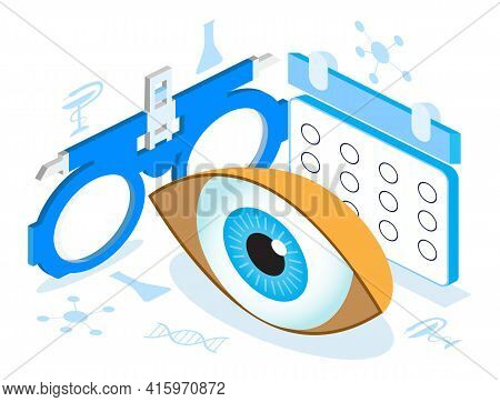 Medical Ophthalmologist Eyesight Check Up Concept Isometric Vector. Eye 3d Illustration For Health C