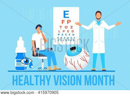 Healthy Vision Month Concept Vector. Medical Ophthalmologist Eyesight Check Up Concept Vector. Eye D
