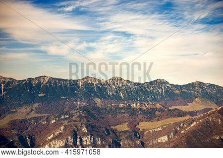 Baldo Mountain (monte Baldo) In Autumn, East Side, Seen From The Lessinia Plateau. Mountain Range Be
