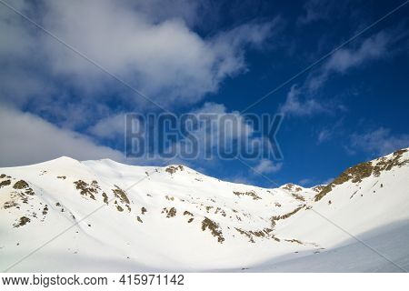 Peaks in the Pyrenees, Canfranc Valley, Huesca Province, Aragon in Spain.