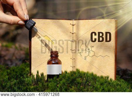 Cannabis Cbd Oil Recipe Book With A Copy Space.