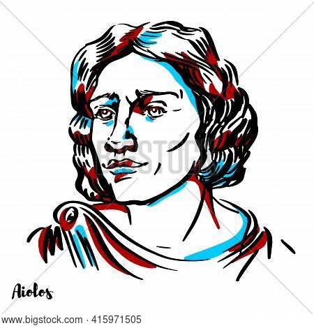 Aeolus Engraved Vector Portrait With Ink Contours On White Background. Aeolus Or Aiolos Was The Keep