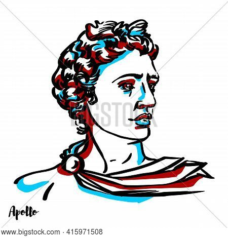 Apollo Engraved Vector Portrait With Ink Contours On White Background.apollo[a] Is One Of The Olympi