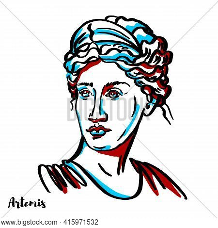 Artemis Engraved Vector Portrait With Ink Contours On White Background. The Greek Goddess Of The Hun