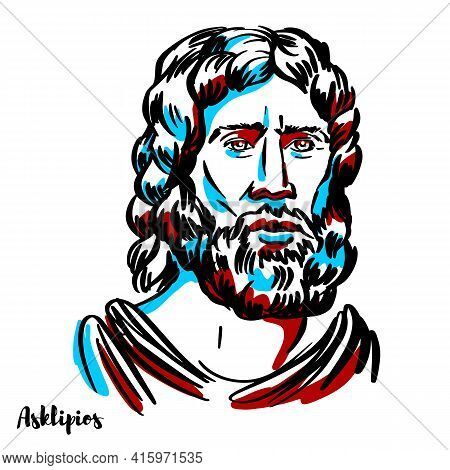 Asclepius Engraved Vector Portrait With Ink Contours On White Background. Asclepius Is A Hero And Go