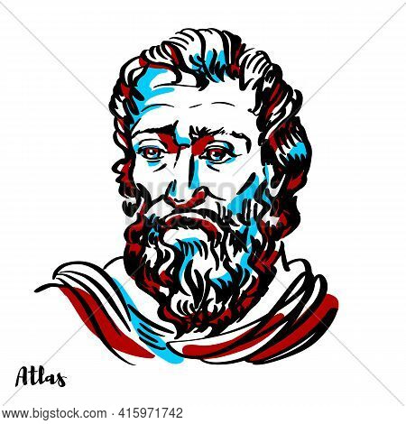 Atlas Engraved Vector Portrait With Ink Contours On White Background. In Greek Mythology, Atlas Was
