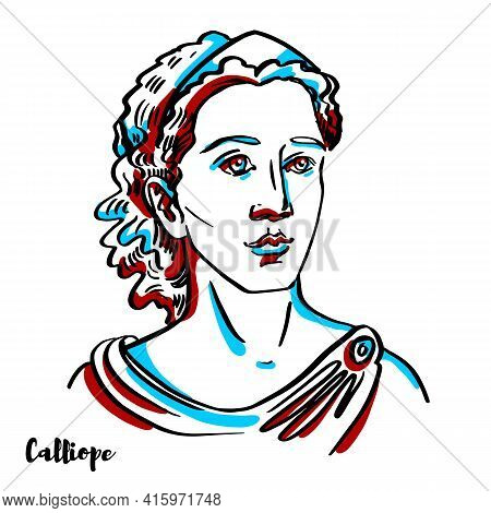 Calliope Engraved Vector Portrait With Ink Contours On White Background. Calliope Is The Muse Who Pr