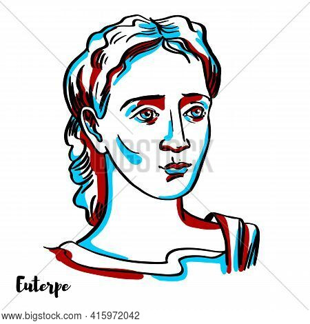 Euterpe Engraved Vector Portrait With Ink Contours On White Background. She Was One Of The Muses In