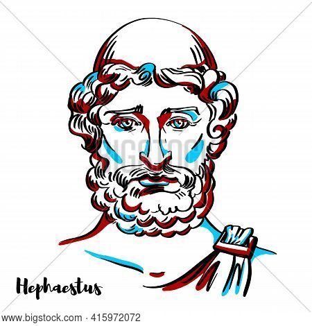 Hephaestus Engraved Vector Portrait With Ink Contours On White Background. He Is The Greek God Of Bl