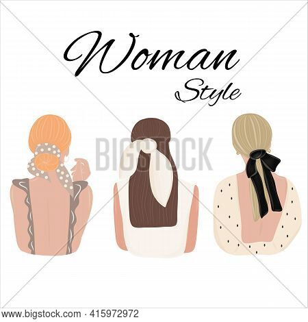 Womens Hairstyle With Accessories On An Isolated Background. Hairstyles With A Scarf. Look From Behi