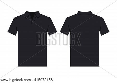Black Polo Shirt Design Template, From Two Sides. Front And Back Side Views