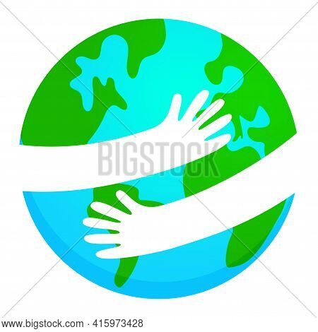 Save The Planet, Earth Hug Drawing. Cute Cartoon Earth Day Vector Clip Art Illustration. Poster Or T