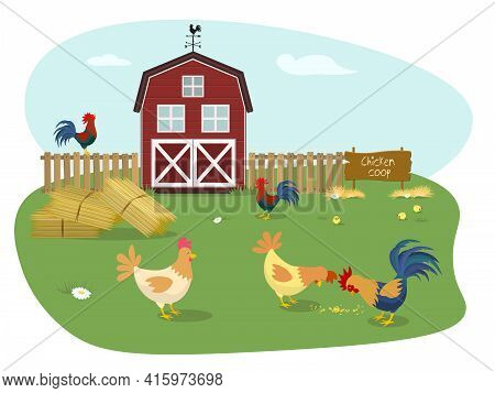 Farm Animals. Chicken Coop With Many Chicks. Coop Chicks Elements Illustration