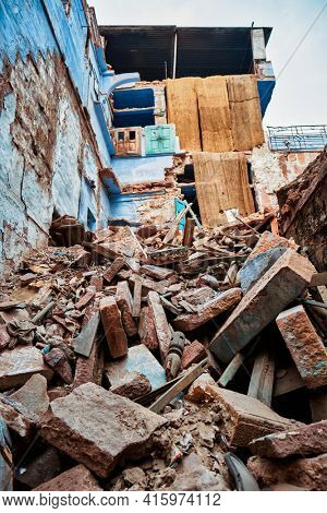 Demolished house ruins in India