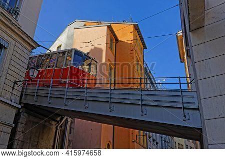 Lyon, France, April 6, 2021 : A Train Of The Fouviere Funicular At The Start From Vieux-lyon Station