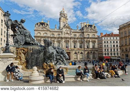 Lyon, France, March 12, 2021 : The Fontaine Bartholdi Was Sculpted By Bartholdi In 1889. It Is Erect