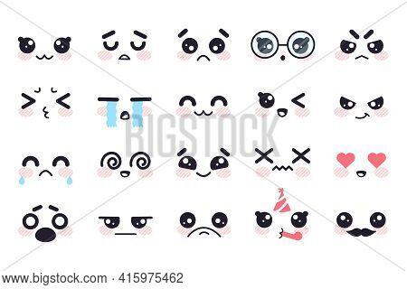 Kawaii Faces. Manga Face Cute Japanese Characters, Cartoon Emoji Facial Emotions. Smile, Sad And Ang