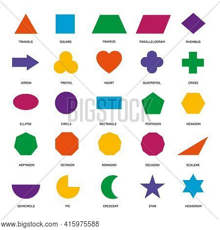 Basic Geometric Shapes. Ellipse, Rectangle And Triangle, Hexagon And Circle, Pentagon And Star Eleme