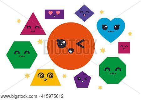 Geometric Shape Characters. Geometric Simple Objects With Funny Kawaii Faces For Kids Education, Cir