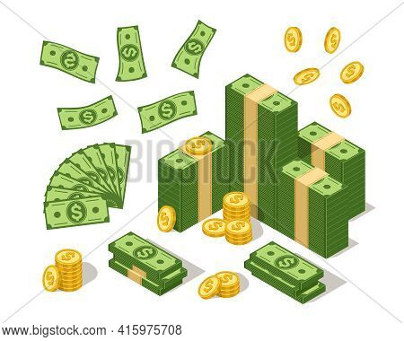Isometric Banknotes And Coins. Us Currency Dollars And Golden Coin, Cartoon Cash With American Bucks