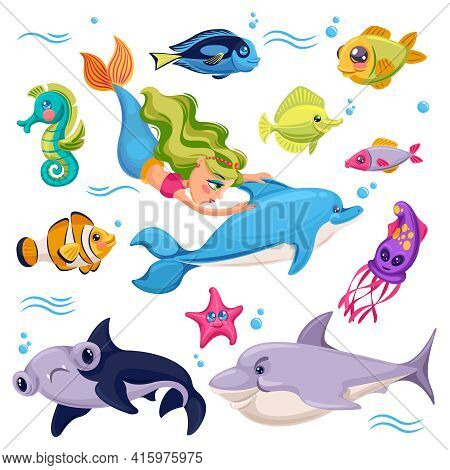 Sea Animals. Ocean Creatures Fish, Shark And Starfish, Dolphin With Mermaid, Cuttlefish And Seahorse